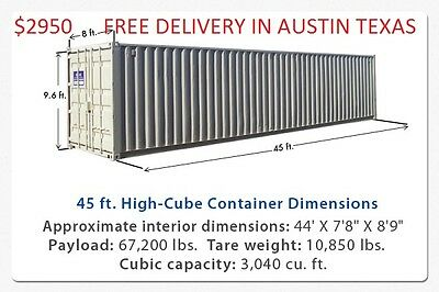 Used 45' High Cube Steel Storage Container Shipping Cargo Conex Seabox Austin TX