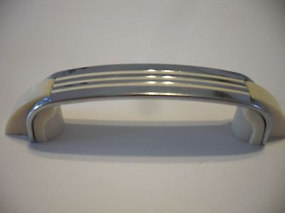 Vintage 50s CHROME DRAWER Pulls w CREME Lines & Plastic Trim Cabinet Door Handle