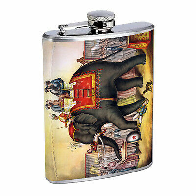 Vintage Poster D200 Flask 8oz Stainless Steel Circus Elephant Performing