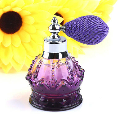 Vintage Purple Crystal Perfume Bottle Short Spray Atomizer Refillable Glass 80ml