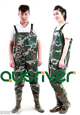 Premium Camoufla 0.7 PVC Glue Rubber Chest Fishing Wader Waterproof Wader Boots