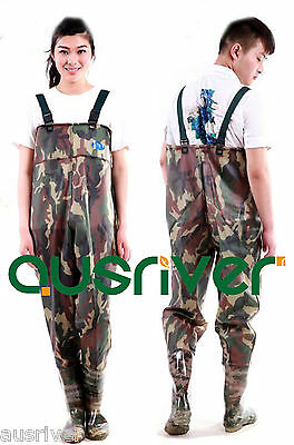 Premium Camo 0.75 PVC Glue Rubber Chest Fishing Wader Waterproof Wader Boots
