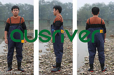 Premium PVC Glue Rubber Chest Fishing Wader Waterproof Wader Boots Blue