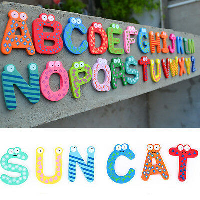 26pcs Letters Baby Kids Wooden Alphabet Fridge Magnet Child Educational Toy Gift