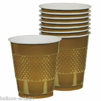 20 Wedding Party GOLD Sports Team Colour 355ml Disposable Plastic Cups