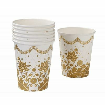 *talking Tables Party Partyware Tableware Porcelain Gold Paper Cups Pack Of 12*