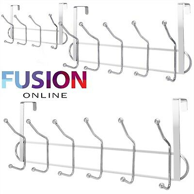 12 10 8 Over The Door Hooks Chrome Wash Room Coat Hanger Clothes Towel Storage