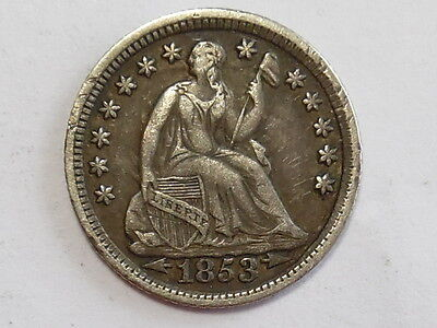 Coinhunters- 1853 w/arrows Liberty Seated Silver Half Dime - Extra Fine+, XF+