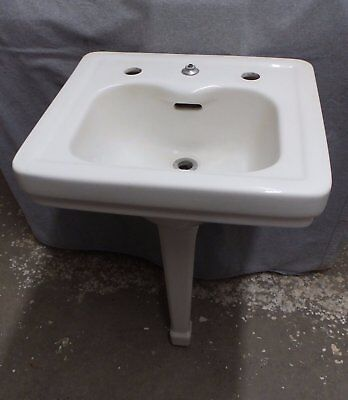 Vtg White Porcelain Peg Leg Sink Old Standard Bathroom Lavatory Plumbing 92-16