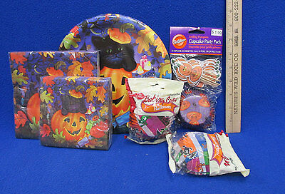 Halloween Party Supplies Paper Plates Napkins Cupcake Muffin Liners Black Cat