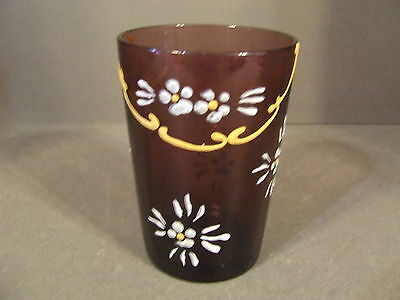 Vintage Amythest Paneled Glass Tumbler With Hand Painted Flowers