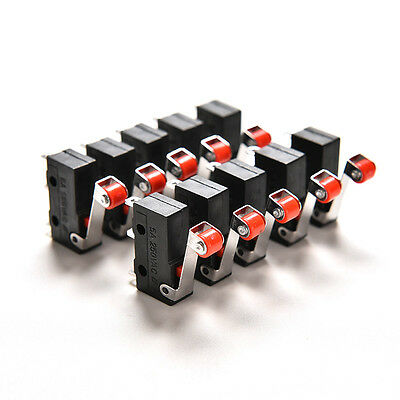 Hot 10Pcs Micro Roller Lever Arm Open Close Limit Switch KW12-3 PCB Microswitch