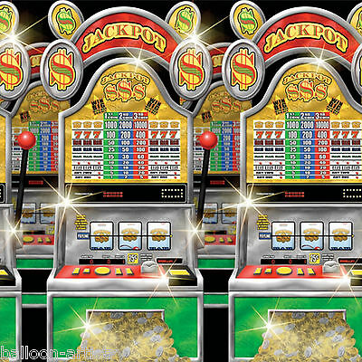 Vegas Casino Party Scene Setter Room Roll Decoration - SLOT MACHINES