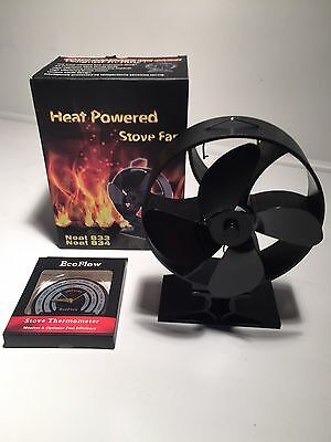 New For 2016 Italian Designed Eco Heat Powered Stove Fan Plus Thermometer