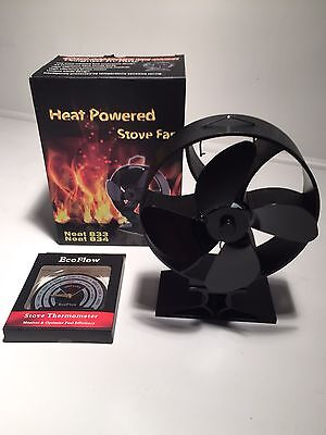 New 2016 Round Heat Powered Stove Fan Plus Thermometer Eco Friendly Log Burner