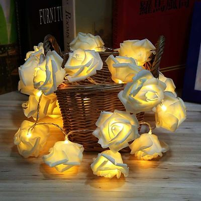 20Pc LED String Rose Flower Fairy Lights Battery Christmas Party Bedroom Lounge