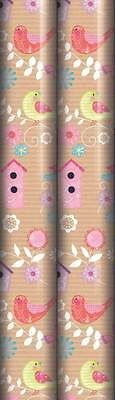 6m Female Gift Wrapping Paper 2x3m Roll - Brown Kraft Birds & Flowers - Generic
