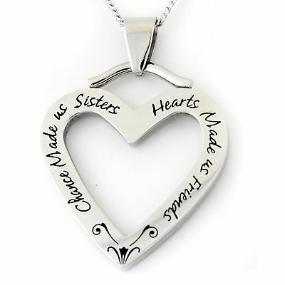 Chance Made Us Sisters, Hearts Made Us Friends Pendant Stainless Steel Necklace