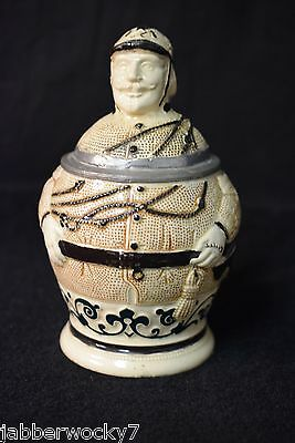 RARE Antique Fireman German Stein by Hanke No 466 & Gerz No 638 Reichs Zinn Lid