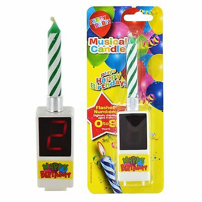 2 x BATTERY OPERATED DIGITAL HAPPY BIRTHDAY MAGIC MUSICAL CANDLES SHOWS AGE