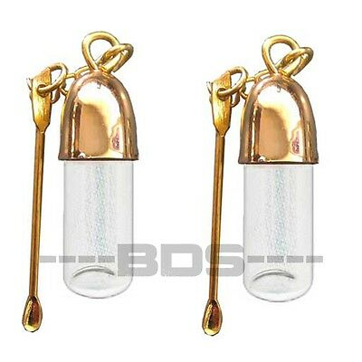 2x Snuff Vial Sniffer Snorter Nasal Spoon Gold Color Snuffer Bullet S10