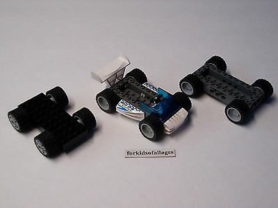 3 Lego Car Bases With Wheels/Tires Lot #3 - Build Your Own Vehicles