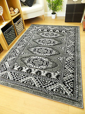 New Small Extra Large Grey Black Soft Thick Carved Traditional Floor Rugs Runner