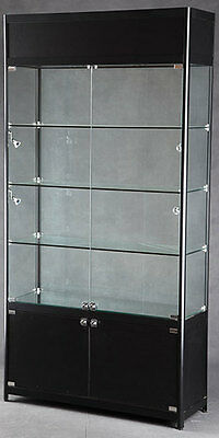 Tower Showcase Retail Display Case 3 Adj Shelves Black Ships  Assembled New