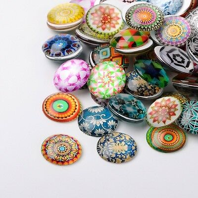 10 Mosaic 12mm Printed Half Round Domed Glass Cabochons (BOX124)