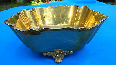 Beautiful Vintage Square Footed Heavy Brass Planter