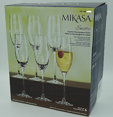 Mikasa Encore Crystal Champagne Flutes Set of 6 10 inch BRAND NEW