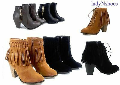 NEW Women's Pointed Toe Fringe Chunky High Heel Ankle Booties Shoes Size 5 - 10