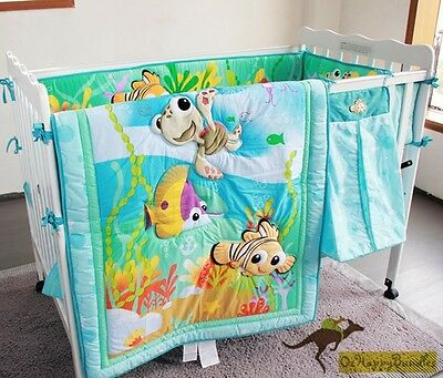 New Baby Boys 7 Pieces Cotton Nursery Bedding Crib Cot Sets-- Blue Ocean