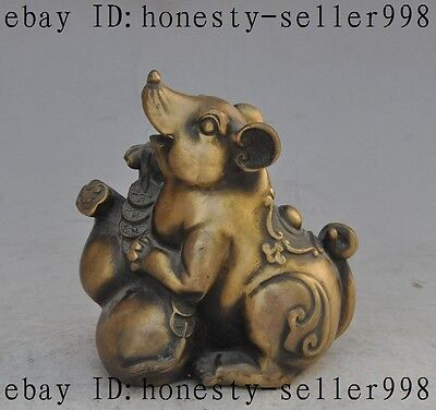 "6""Chinese FengShui Bronze Zodiac Mouse Rat Mice Wealth Coin Gourd lucky Statue"