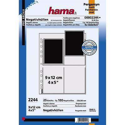 "Hama 4""x 5"" 9X12Cm Translucent Glassine Negative Filing Sheets 2244 Pack 25"