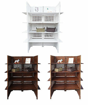 2-Way Display 4 Panel Heavy Duty Indian Screen 4 Shelves Bookcase Room Divider
