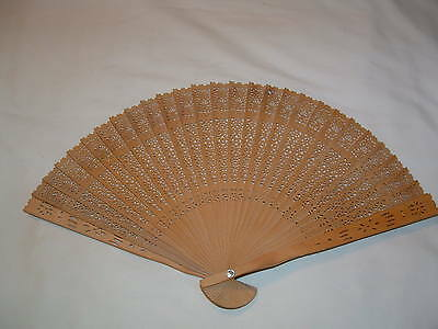 Vintage Chinese Bamboo Wood Folding Fan With Origianl Box