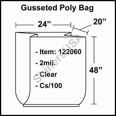 2 mil Gusseted Poly Bag 24x20x48 Clear FDA Approved  cs/100 (122060)
