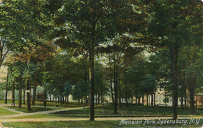 Mansion Park, Ogdensburg, N.y. New York. Houses In Background.