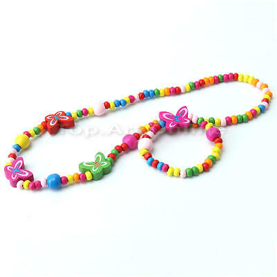 2 Sets Childrens Girls Wooden Bead And Multicolour Beads Necklace And Bracelet