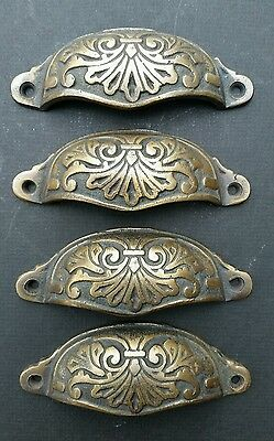 "4  Apothecary Drawer Cup Bin Pull Handles 4 1/8""w. Antique Vict. Style Brass #A1"