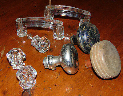 Asst Lot Vtg Clear Glass Cabinet Pulls,Handles,Wood,Black,Metallic Door Knobs