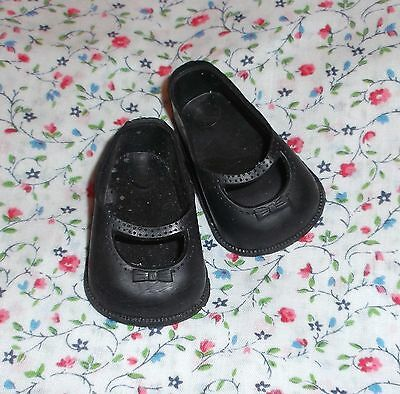 VINTAGE doll shoes 1950's-60's Black Mary Jane style 5T made is USA Vinyl/rubber