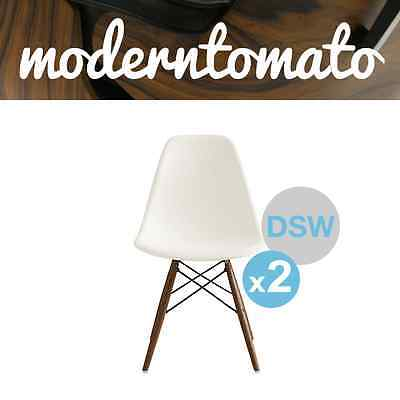 ( Set of 2 ) Premium White DSW Walnut Stain Leg Side Chair Mid Century Modern MC