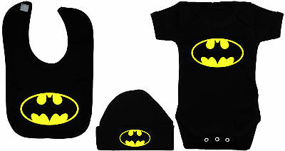 Batman Baby Grow,Romper,Bodysuit, Feeding Bib & Hat/Cap 0-12m Boy Girl Acce Gift