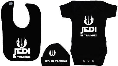 Jedi in Training Baby Grow,Romper,Bodysuit, Feeding Bib & Hat/Cap 0-12m StarWars