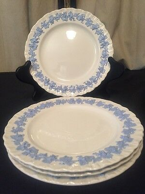 "Set Of 4 Wedgwood Lavender Blue On Cream 8 1/4"" Shell Edge Salad Plates England"