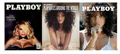 """Lot of 3 Playboy Wall Calendar 2018 2017 2016 11"""" x 14"""" Brand New Factory Sealed"""
