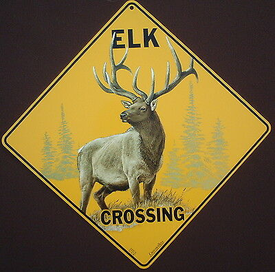 ELK  CROSSING SIGN aluminum new novelty hunting decor animals  home wildlife