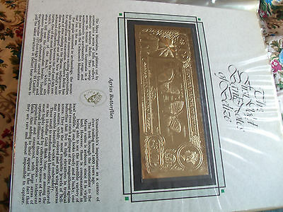 22kt Gold $10 Belize  Note - Agrias Butterfly - RARE